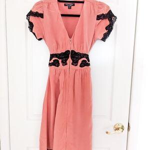 Betsey Johnson Pink Dress Black Lace Wrap Dress